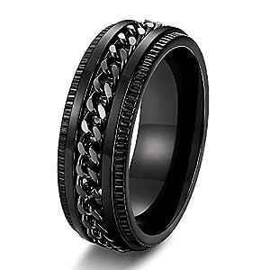 Adramata Edelstahl 8mm Ringe für Herren Kettenringe Biker Grooved Edge, Größe 7-14
