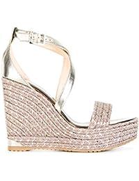 Jimmy Choo Mujer PORTIA120IOVLIGHTMOCHA Oro Cuero Zapatos De Cuña