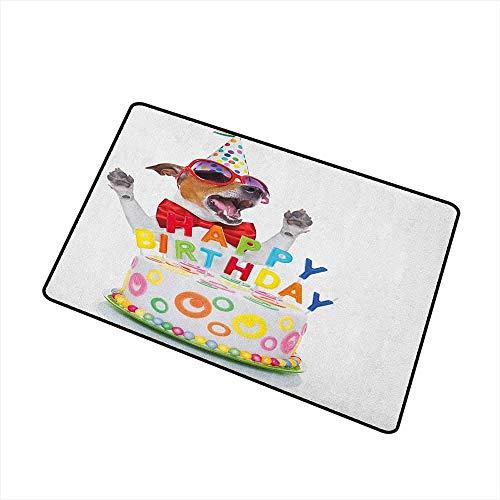 Kindergeburtstag Universal Fußmatte Party Dog bei Überraschungsgeburtstag Party mit Kegel Hut und Brille Foto Fun Fußmatte Bodendekoration Multicolor Badematte