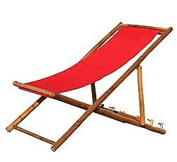 Kmh®, Deckchair Strandstuhl Aus Bambus Mit Rotem Bezug (#104005)
