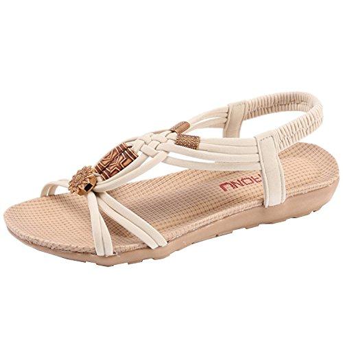 Oasap Women's Casual Bohemian Open Toe Flat Sandals Apricot