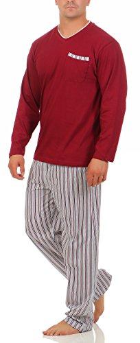 Langer Schlafanzug Baumwolle Rundhals oder V-Ausschnitt - weicher warmer Pyjama - 5 verschiedene Modelle und Farben wählbar Grösse 50/M - 56/XXL Oberteil Bordeaux Hose Streifen