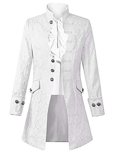 Pxmoda Herren Frack Mantel Steampunk Gothic Jacke Vintage Viktorianischen Cosplay Kostüm Smoking Jacke Uniform Mittelalter Kleidung Weste Jacke Waistcoat Waffenrock