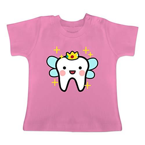 Karneval und Fasching Baby - Zahnfee mit Krone - 1-3 Monate - Pink - BZ02 - Baby T-Shirt Kurzarm