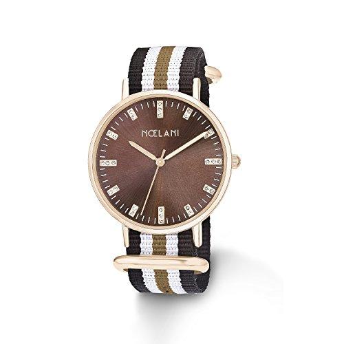 Noelani Damen Armbanduhr Analog Quarz mit gestreiftem Textilband