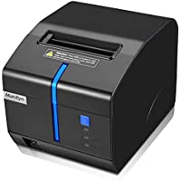 "3 1/8"" 80mm Thermal Receipt Printer, MUNBYN Printer with Auto Cutter USB Serial LAN Port with Sound and Light Alarm to Avoid Order Missing ESC/POS Compatible with Windows Mac POS System Cash Drawer"