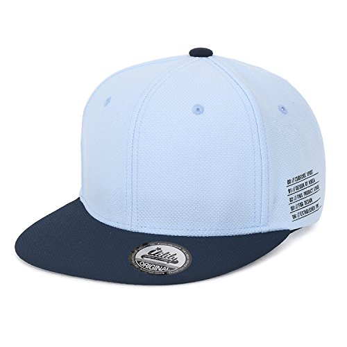ililily Solid Farbe Baseball Cap Freizeitkleidung flach Rechnung Snap Kappe Trucker Cap Hut , Sky Blue (Farbe Trim-snap)