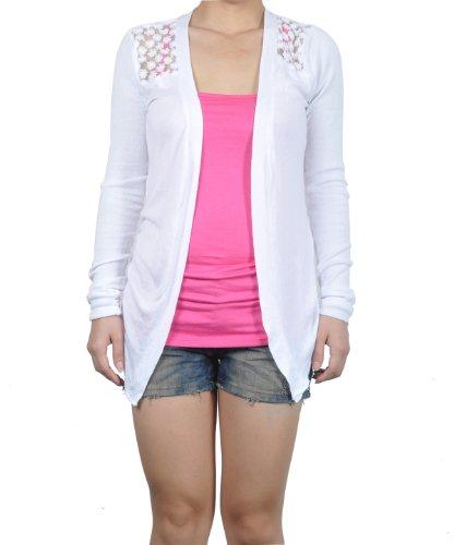 Imixcity - Gilet -  - Manches longues Femme taille unique Blanc - Blanc