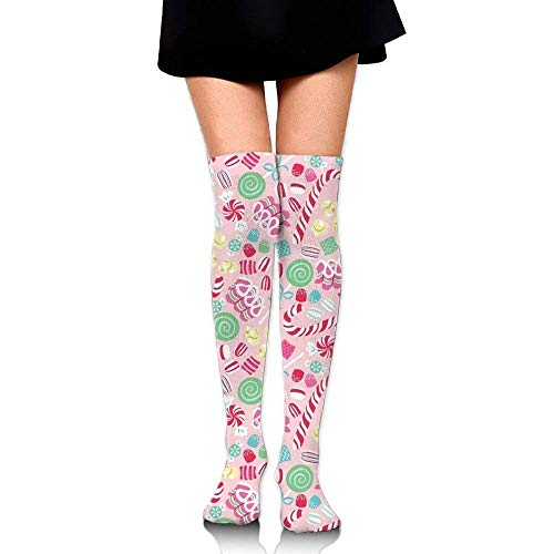 Not afraid Women Thigh High Over Knee Candy Cane Christmas Long Tube Dress Legging Soccer Compression Stocking 50CM
