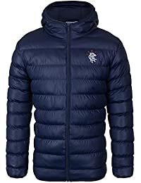 Rangers FC Official Football Gift Mens Quilted Hooded Winter Jacket