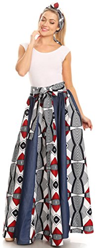 Gonna lunga Maxi di Sakkas Monifa Gonna olandese africana di cera colorata di Ankara 2288 Nero / bianco