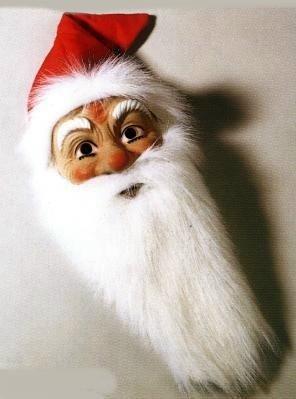 Weihnachtsmann Maske mit Plüschbart ()