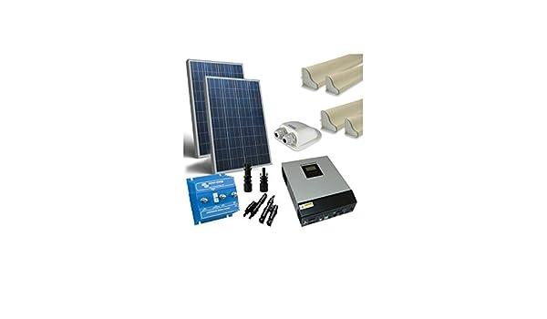 Kit solare per ambulanti 200w 12v base pannello accessori inverter