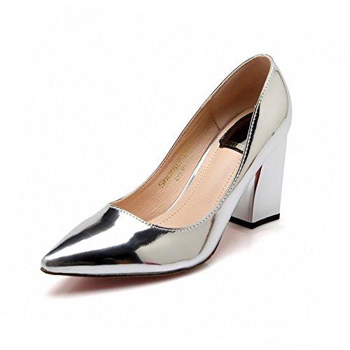 VogueZone009 Damen Hoher Absatz Rein Ziehen Auf Lackleder Spitz Zehe Pumps Schuhe Silber