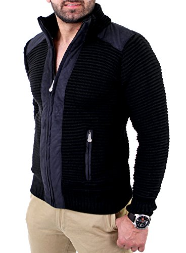 Reslad Herren Grobstrick Winter Strickjacke RS-3203 Schwarz