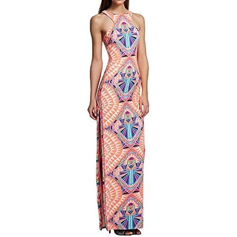 Cousin Canal di Mani vestito estate maniche lunghe sera abiti da sera donne moda (Patchwork Tulip)