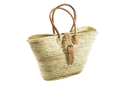 6f6a853329cfe Korbtasche Einkaufstasche Flechttasche Strandtasche Palmtasche Ibiza-Tasche  aus Palmblatt mit Lederhenkeln und Lederverschluss