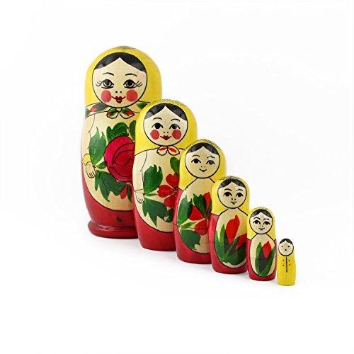 Matroschka Kostüm Puppe - Heka Naturals Matryoshka russische Puppen Semenov Klassische Babuschka Hand Made in Russland 6 Stück 13,5 cm gelb Top Holz Geschenk Spielzeug