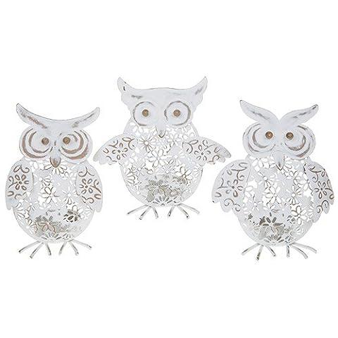Set of 3 Assorted Creme Caramel Owl Tealight Holder