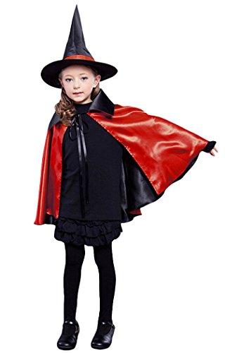 Hexe Kostüm, Outgeek Reversible Halloween Hexe Cape Kinder Dämon Cosplay Kostüm mit Hut für Mädchen (Reversible Kinder Kostüme)