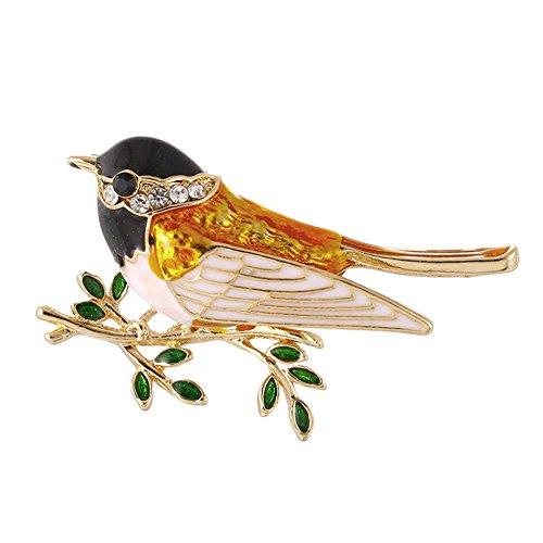 La Cabina Cristal Strass Broche -Broche Mariage -Broche Décoré Vêtement Festival Bijoux Multi -Style Animaux (Oiseau Noir)