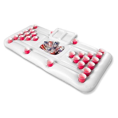 Aufblasbares Bier-Pong Spiel -Luftmatratze / Getränkehalter/ 28 Becherhalter, perfekt für Pool-Partys und Spaß im Sommer, Schwimmlounge oder Luftmatratze, einfach aufzublasen, Sonderanfertigung, 180cm x 80cm