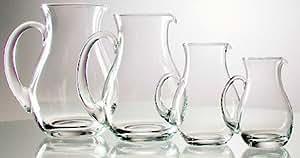 Pichet de verre avec la poignée, cruche avec anse ronde crystal Pichet Verre avec bec verseur en verre d'une capacité de 1,5 litres, hauter 20 cm, Oberstdorfer Glashütte