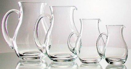 Cántaro de cristal transparente con la asa, Jarra de vidrio claro par