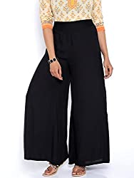 Desi Weaves Bold Solid Colored Black Rayon Palazzos