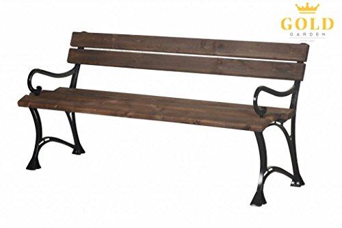 GOLD GARDEN Gartenbank mit Armlehnen TOSKANA Massivholz auf Aluminiumrahmen palisander in 2 Größen (180 cm - 4-Sitzer)