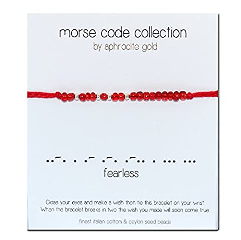 Fearless Morse Code Bracelet Red String Wrap