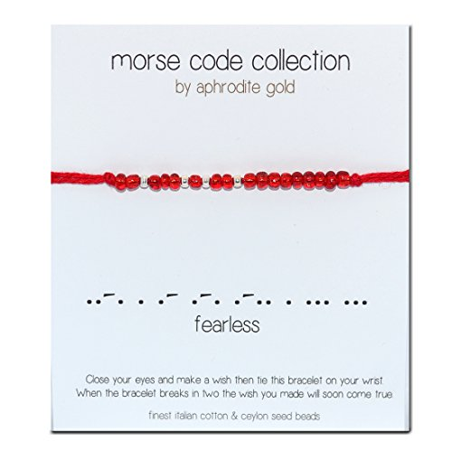 Fearless Morse Code Armband Wickel-Armband Rot (Rot Ring Black Gold Diamond)