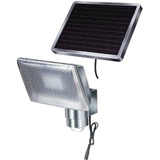 Brennenstuhl Lampe LED solaire avec détecteur de mouvements infrarouge, projecteur solaire (IP 44) à LED (8 x 0,5 W) avec câble (4,75 m), Quantité : 1