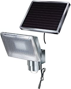Brennenstuhl 1170840 Faretto solare a LED 350 lm SOL 80 IP44 con segnalatore di movimento ad infrarossi 8xLED, cavo 4,75m colore ALLUMINIO