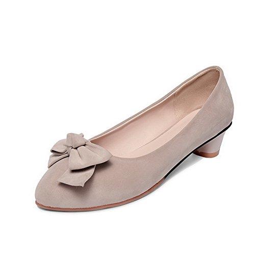 AgooLar Femme Couleur Unie Dépolissement à Talon Bas Tire Rond Chaussures Légeres Abricot