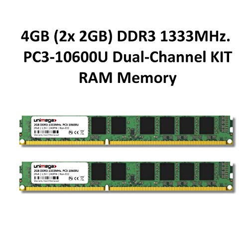Dual-channel-kit Pc (4GB (2X 2GB) Dual-Channel KIT DDR3 1333Mhz PC3-10600U 240PIN 2Rx8 CL9 1,5V Non-ECC PC RAM Memory Arbeitsspeicher)