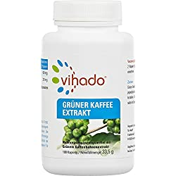 Vihado Grüner Kaffee Kapseln - reiner grüner Kaffee Extrakt hochdosiert, 100 Kapseln, 1er Pack (1 x 33,5 g)