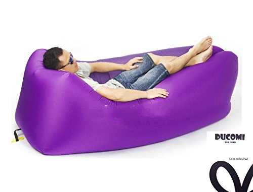 Ducomi airpuffy - materassino mare - divano gonfiabile portatile ed impermeabile in comoda sacca da viaggio - poltrona sofà ideale per spiaggia, campeggio e relax - dimensioni: 260 x 70 cm (purple)