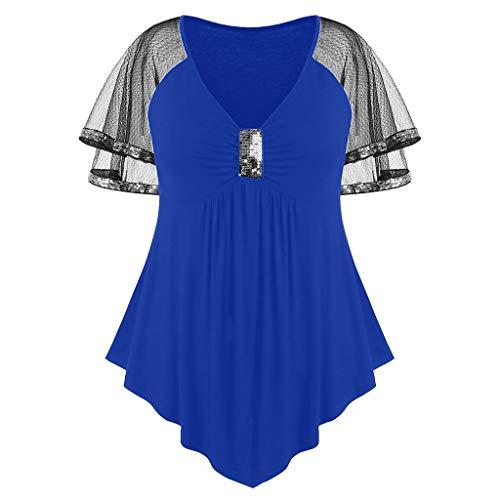 Groß Gitter V-Ausschnitt Pailletten T-Shirt Flash Mode Damen Bekleidung Scheint Top -