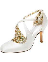 9458c9e93a1b Emily Bridal Wedding Shoes Vintage Wedding Shoes High Heel Pumps Ivory  Cross Front Ankle Strap Bridal