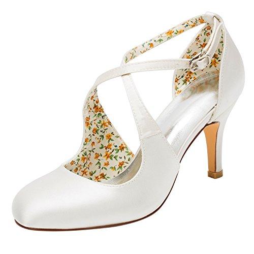 Emily Bridal Brautschuhe Vintage Wedding Shoes High Heel Pumps Ivory Cross Front Ankle Strap Bridal Shoes (EU37, Elfenbein) Satin Ankle Strap High Heel