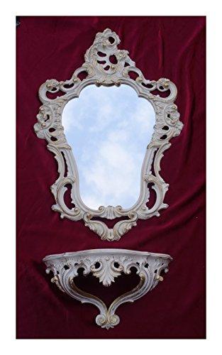 2-teiliges Set in Weiß Gold bestehend aus Wandspiegel + Wandkonsole Oval Barock Antik 50x76cm Flur Eingangsmöbel Möbel Konsole Ablage Spiegel + Wandregal - Konsole Wandspiegel