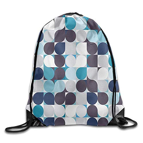 he mit Kordelzug, Sportrucksack, Reiserucksack, Retro Inner Circles Pattern with Squares Mosaic Style Old Fashion Print Multicolor Bags Walk Backpack ()