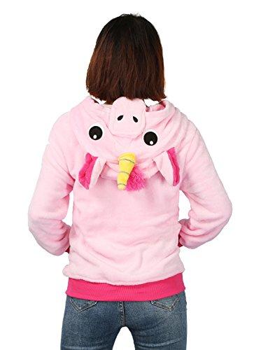 Felpe cappuccio donna Zip Hoodie Animali Giacca inverno Pelliccia Caldo unisex per Adulto Cartoon Costume per Cosplay Halloween Regalo per Ragazza-Luojida Pink