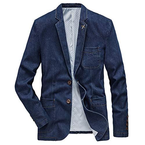 MAYOGO Herren Sakko Denim Anzug Leinenstruktur Slim Fit Männer Blazer Modern Freizeit Leichte Jackett Jacken (Blue, XL)