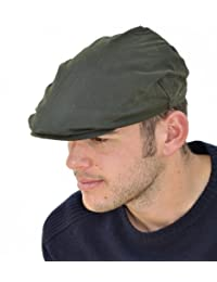 Mens Wax Cotton Flat Cap with Fleece Thinsulate Lining