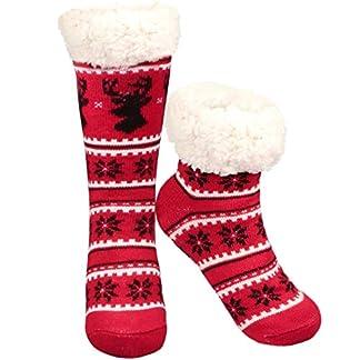 Philonext Sin calcetines antideslizantes, Regalo de Navidad Ciervos de copo de nieve Cálido y acogedor Calcetines bordados de lana con forro polar y altas calcetines de invierno para mujeres (Rojo)