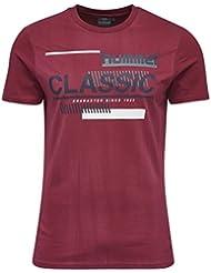Hummel T-Shirt Herren - TABLE TEES CRUZ SS TEE - Trainingsshirt Baumwolle kurze Ärmel - Fitnessshirt Freizeit & Sport - Shirts bedruckt Grau & Rot mit Rundhals