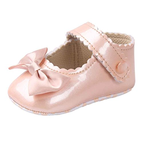 Bow Princess Chaussures Bébé Chaussures Bébé Chaussures Rawdah Bébé Chaussures Baby Girl Bowknot Leater Shoes Sneaker Anti-slip Soft Sole Toddler Bébé Sneakers Chaussures (12-18M, Or)
