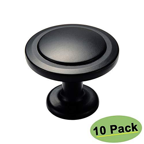 Homdiy Schrankknäufe HD6050 runde Schubladenknöpfe für Schranktüren, 10 Stück Modern 10 Pack Black Round Knobs - Black Nickel Cabinet Hardware